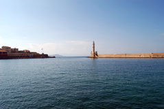 Venetian harbor of Greece. Venetian harbor with lighthouse, Chania, Greece royalty free stock image
