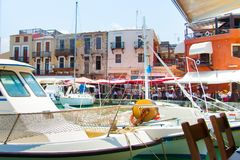 Venetian harbor of Rethymno Royalty Free Stock Photo
