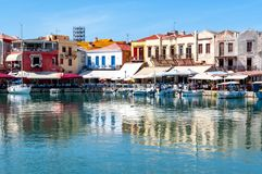 Venetian Harbor of Rethymnon, Crete island, Greece royalty free stock photos