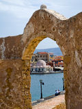 Venetian harbour in Chania city in Crete . The view from the battlements of the old fortress on the sea and the harbor of Chania. Crete, Greece royalty free stock photos