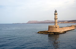 Venetian harbour in Chania city in Crete . Lighthouse in Chania, Crete (Greece Stock Photography