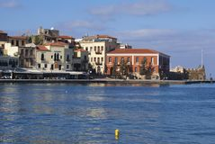 Venetian harbour of Chania in Greece, Europe Stock Photography