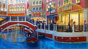 The venetian hotel canal and shopping area, macau Stock Photos