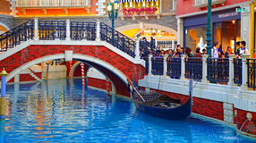 Venetian hotel canal and shopping area, macau Stock Image