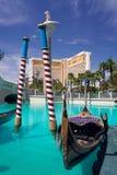 Venetian Hotel Las Vegas Nevada. Gondolas at the entrance to the Venetian Hotel in Las Vegas with the Mirage Hotel in the background Stock Image