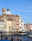 Venetian houses and dome view from grand canal in venice Stock Photos