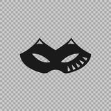 Venetian icon symbol carnival mask  on a transparent background. Decoration element costume for the masquerade, parties and various celebrations. Vector Royalty Free Stock Photo