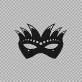 Venetian icon symbol carnival mask  on a transparent background. Decoration element costume for the masquerade, parties and various celebrations. Vector Stock Image