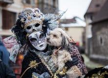 Venetian karneval, Annecy, Frankrike Arkivfoto