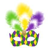 Venetian karnevalmaskering med färgrika fjädrar Stock Illustrationer