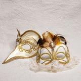Venetian karnevalmaskeringar på vit bakgrund Arkivbilder