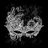 Venetian lace mask. Luxury elegant carnival mask Venetian white lace on black background Stock Photos