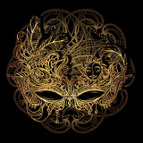 Venetian lace mask. Luxury elegant golden carnival mask from Venetian laces royalty free illustration