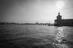 Venetian Lagoon. A black and white shot of the lagoon in Venice Royalty Free Stock Photo