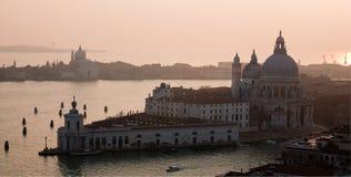 Venetian lagoon and Salute sunset top view Stock Photo