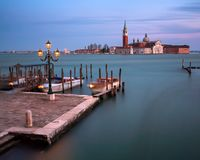 Venetian Lagoon and San Giorgio Maggiore Church in the Evening, Royalty Free Stock Image