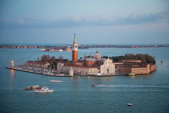 Venetian lagoon with ships and San Giorgio Maggiore aerial view Stock Photo