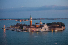 Venetian lagoon with ships and San Giorgio Maggiore aerial view Stock Images