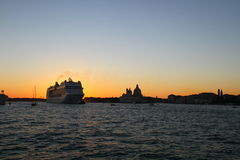 Venetian Lagoon at sunset. Venice Stock Photo