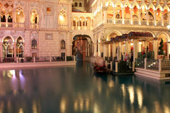 Venetian Las Vegas at night. The Venetian Resort Hotel Casino is a luxury hotel and casino resort situated between Harrah's and The Palazzo on the east side of stock photography