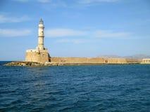The Venetian Lighthouse of Chania, Historic Landmark at Chania Old Port, Crete Island Royalty Free Stock Photo