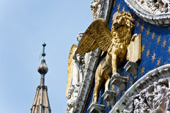 The Venetian lion. On a cathedral building on San Marco square. Venice. Italy Royalty Free Stock Photos