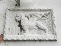 Venetian lion carved into marble Royalty Free Stock Photos