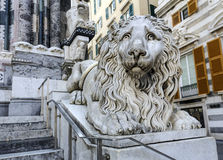 Venetian lion statue beside the Cathedral San Lorenzo in Genoa Royalty Free Stock Photos