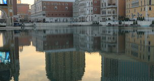 The Venetian in Macao. Macau, China - December 9, 2016: panorama of Venetian Casino and luxury mall reflecting in lake at sunset. The Venetian Macao is modeled stock footage