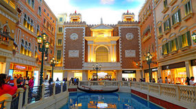 The venetian macau - shopping area and canal Royalty Free Stock Photo