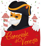 Venetian Man Wearing a Bauta Mask Enjoying the Carnival, Vector Illustration. Festive poster with Venetian man wearing a bauta mask, tricorn, white gloves and Royalty Free Stock Image