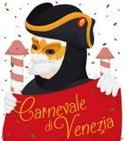 Venetian Man Wearing a Bauta Mask Enjoying the Carnival, Vector Illustration Royalty Free Stock Image