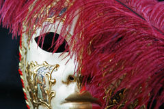 Venetian Mask. Hand painted Venetian Mask against black background royalty free stock photos