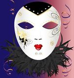 Venetian mask. In pink-blue background, white Venetian mask with black and gold pattern, decorated with feathers vector illustration