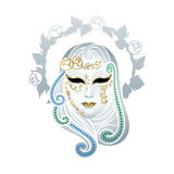 Venetian mask. Venetian female carnival floral mask isolated over white vector illustration