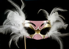 Venetian Mask. Pink and gold mask with white feathers against black background stock photos