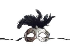 Venetian mask. A silver feathered Venetian mask isolated on a white background with ribbons for fastening Royalty Free Stock Photography