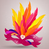 Venetian Mask. Illustration of a beautiful Venetian Mask with colorful feather Stock Image