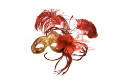 Venetian mask. Red with gold, isolated on white Royalty Free Stock Photography