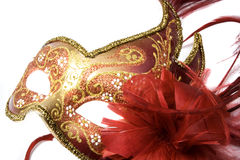 Venetian mask. Red with gold, isolated on white Royalty Free Stock Images