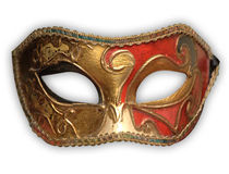 Venetian Mask. Isolated on white background, path included royalty free stock image