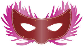 Venetian Mask. Vector illustration of a venetian mask with pink feather effect vector illustration