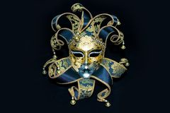 Venetian mask. Ornate handmade venetian mask on black background Royalty Free Stock Photos