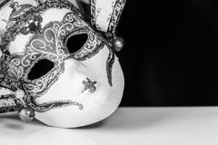 Venetian mask in black and white Stock Photo