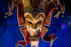 Venetian mask for carnival in Venice, Italy. Venice carnival masks at night stock photo