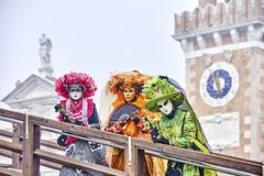 Venetian mask . Carnival mask in Venice, Italy. Carnival Venice 2017. portrait of Costumed woman at the Venetian Parade. Venice Ca Stock Photography