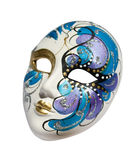 Venetian mask (Clipping path). Handmade carnival venetian mask made of porcelain ceramic isolated over white background with clipping path