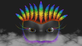 Venetian Mask in Clouds Stock Images