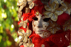 Venetian mask decorated with gold leaf and red plumage. Carnival from Venice in Italy Stock Photo