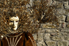 Venetian mask decorated with gold leaf and rich velvet cloth, stone background Stock Images